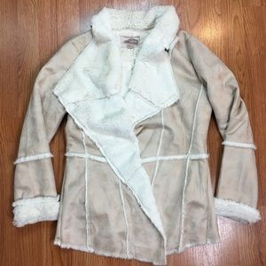 Forever 21 Faux Suede Wrap Jacket Fur Lined  Women